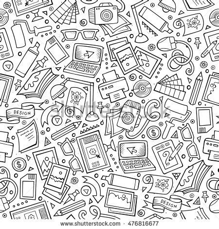 object pattern background hand drawn office seamless pattern vector stock vector