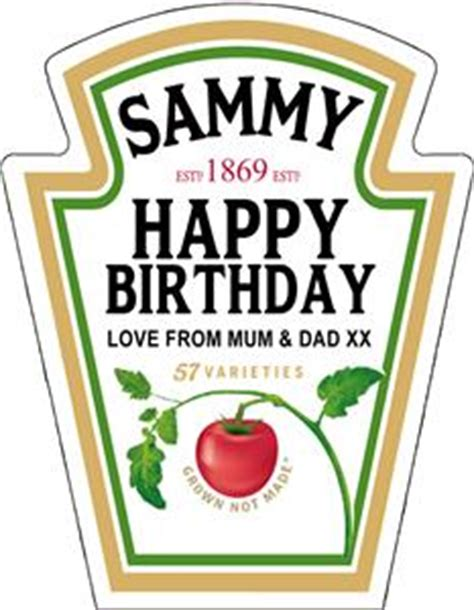 heinz label template personalised spoof ketchup bottle label birthday any