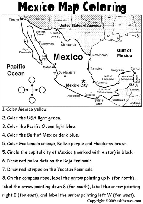 printable maps for elementary students mexico coloring activities eslthemes mexico map coloring