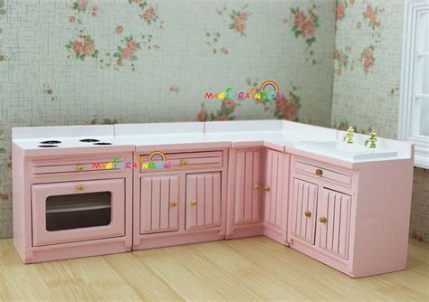 dollhouse kitchen cabinets 1 12 scale dollhouse furniture cupboard cabinet pink