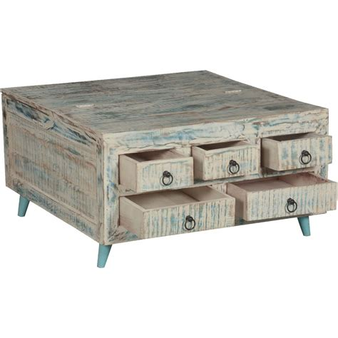 white wooden coffee table with drawers white washed reclaimed wood 35 5 quot sq coffee table 5 drawer