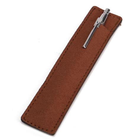 Leather Office Desk 4 Color Simple Pure Pen Bag Leather Pencil Case Holder