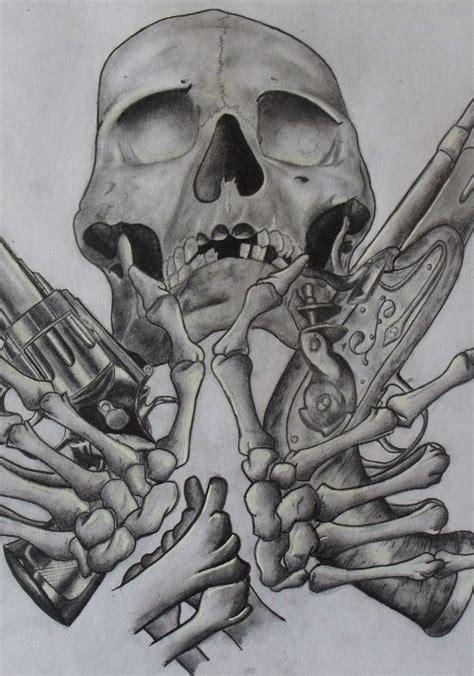 skull gun tattoo designs gun skull and bones