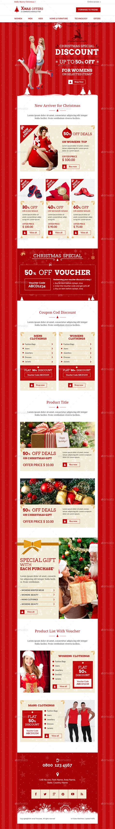Christmas Shopping Offers E Commerce Newsletter By Kalanidhithemes Special Offer Email Template