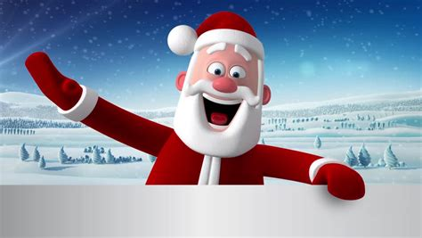 anmated waving snata 3d render character of santa claus peeping out from a white banner waving