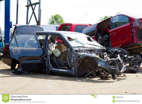 toyota car yard auto collision junkyard detail royalty free stock photo