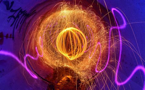 tunnel graffiti light painting fire sparks psychedelic