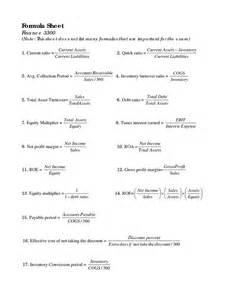 Formula Credit Comercial Sheet Of Accounting Ratios Formula Sheet Finance Accounting Accounting