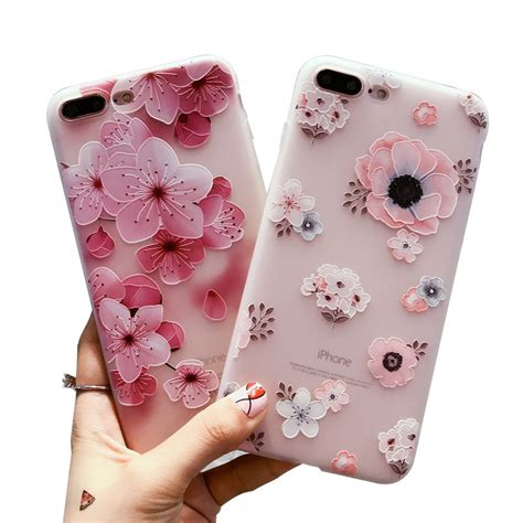 Soft Cover Plus Gantungan iphone 5 5s se 6 6s 7 8 plus 3d floral relief soft tpu