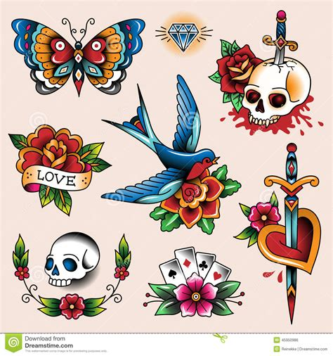old style tattoos designs collection stock vector illustration of symbol