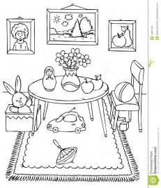 Black And White Illustration Coloring Page Table Chair Pictures  sketch template