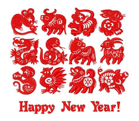 new year symbols in order animals embroidery design new year symbols from