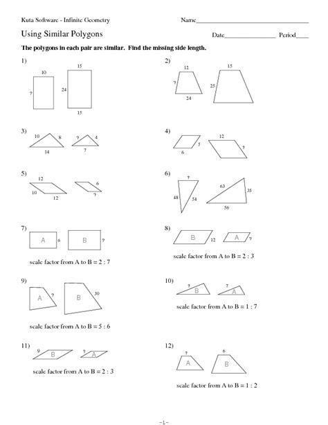 Similar Polygons Worksheet Answers by Similar Polygon Worksheets Free Worksheets Library