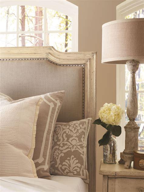 european cottage vintage white upholstered bedroom set  stanley    coleman furniture
