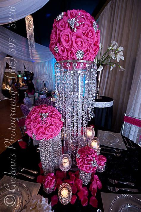 hot pink bling wedding centerpiece weddings that i love