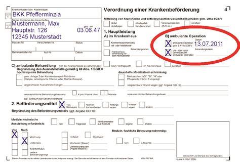 Muster Bestell Formular taxi holl fahrten zur ambulanten operation