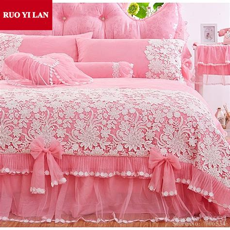 Promo Bed Cover Murah 180x200 T3010 3 white pink korean princess bedding set 4pcs lace ruffles duvet cover bedspread bed skirt