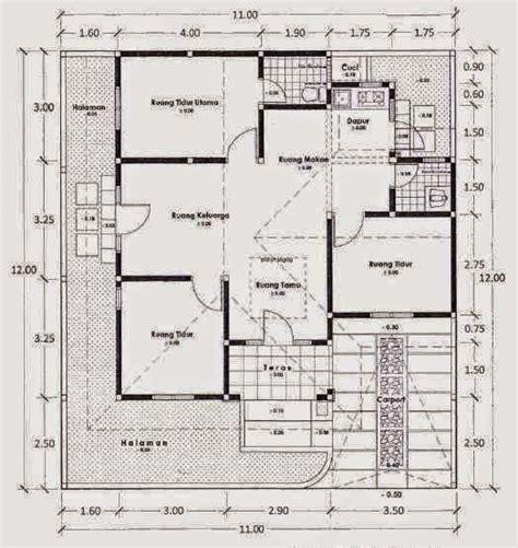 denah rumah sederhana  lantai  kamar tidur proyek  dicoba pinterest bricks  house