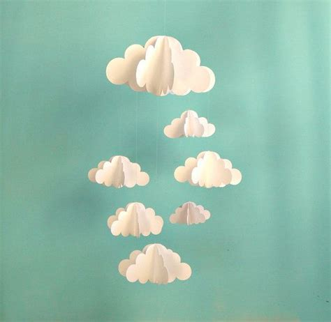 How To Make 3d Clouds Out Of Paper - cloud mobile hanging baby mobile 3d paper mobile