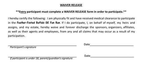 Online Registration 5k Waiver Form Template