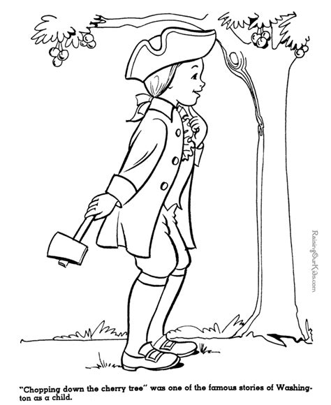 George Washington And Cherry Tree Coloring Page 017 Coloring Pages George Washington