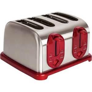Bagel Toaster Reviews Kalorik Red 4 Slice Toaster Walmart Com