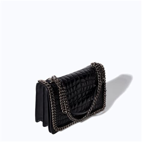 Zara Bag Black zara croc embossed leather shoulder bag in black lyst