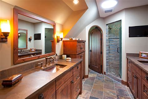 mission style bathroom mission style cabinet doors bathroom farmhouse with arched door brown countertop