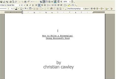 How To Format Scripts In Word 2010 Microsoft Word Screenwriting Template