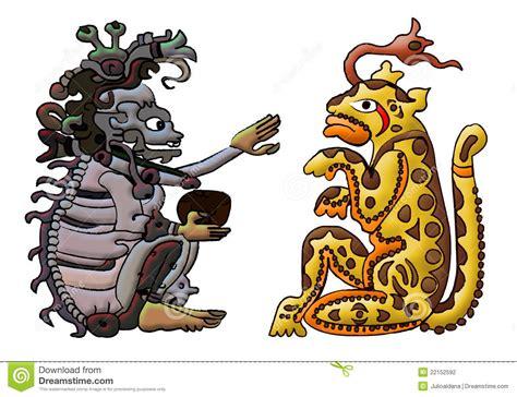 Calendario Animal Sagrado Deidade Asteca Maia Ah Puch E Balam Fotografia De Stock