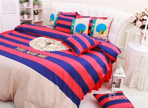 red and blue bedding high quality red and blue stripe 6 piece cotton duvet