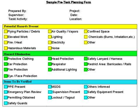 Pre Task Safety Planning Safetyrisk Net Pre Task Plan Template