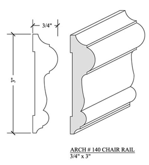 Chair Rail Molding Profiles by Chair Rail 140 Newood Moulding
