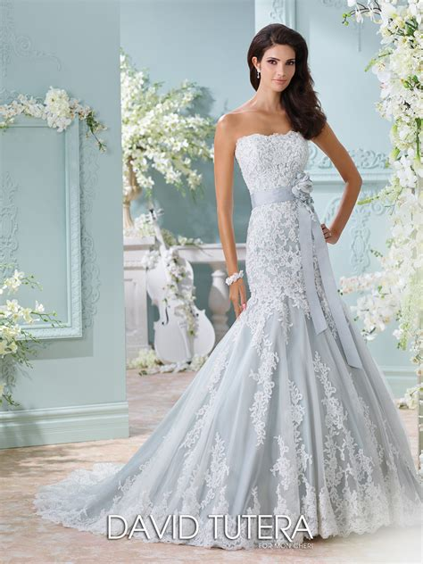wedding dress strapless blue wedding dress