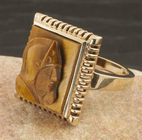 antique 10 karat gold tiger eye cameo ring from 24kgreen