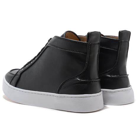 black leather high top sneakers womens christian louboutin louis womens high top leather