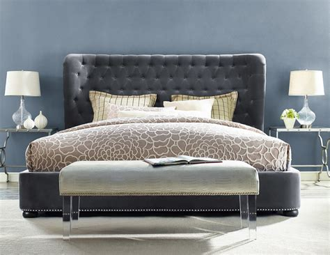 gray bed tov furniture finley grey velvet bed b23 q at homelement