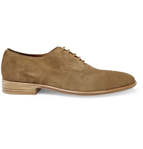mens brown suede oxford shoes folk bobby suede oxford shoes in brown for lyst