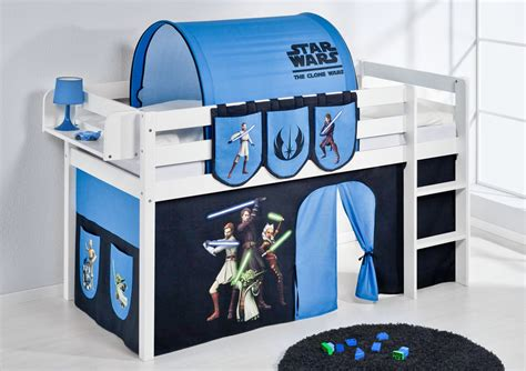 Star Wars Themed Midsleeper Bed with Tunnel, Curtains