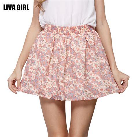 cute patterned mini skirt fashion pleated floral printed chiffon women ladies cute