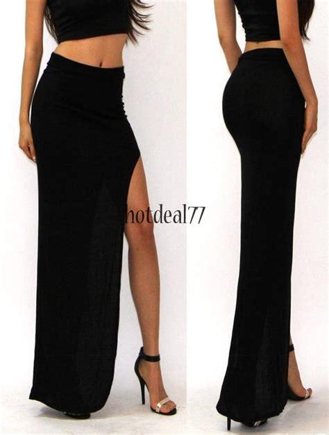Dress Import 77 high waist jersey side open leg slit split maxi skirt 8hot ebay