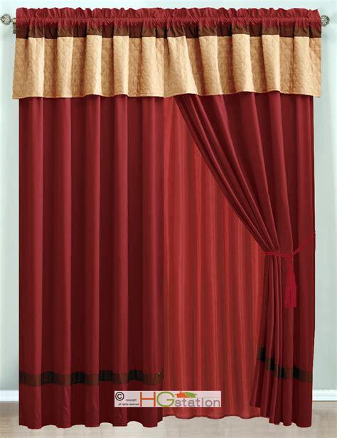 burgundy valance curtains 4 p moroccan quatrefoil trellis striped curtain set