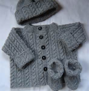 Baby boy sweater set hat booties hand knit gray wool size 3m