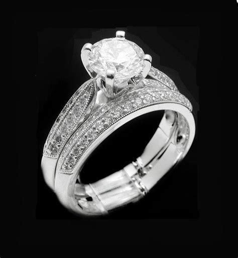 14k white gold p 1ct simulated ring wedding set