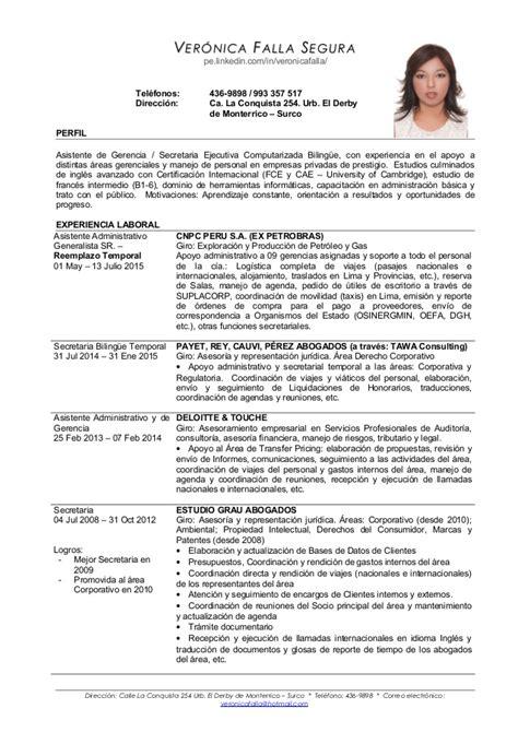 Modelo Curriculum Ingles Secretaria Cv Falla Espanol