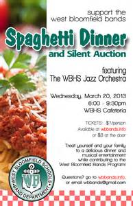 spaghetti dinner amp silent auction west bloomfield bands