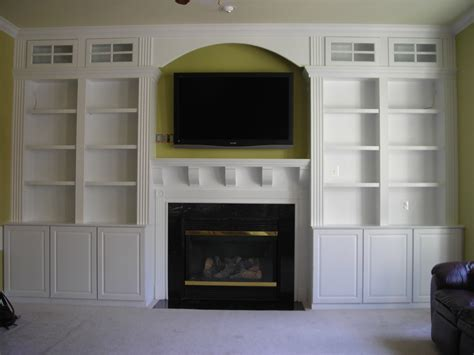 Built In Shelves Around Fireplace by Living Room White Wooden Bookcase With