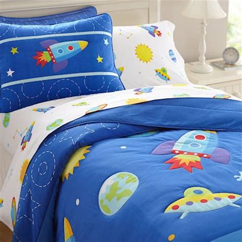 Wst11514 Set Space Cotton galaxy outer space blue bedding or comforter set for boys cotton boy s