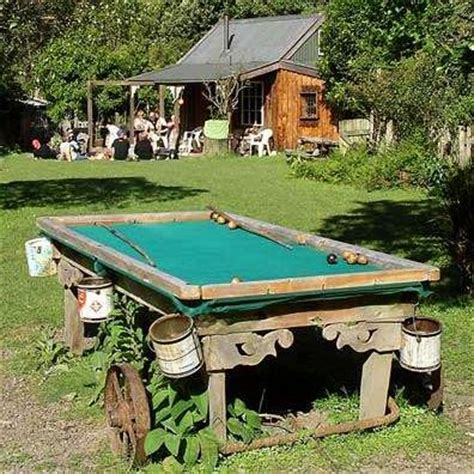 backyard pool table a pool table made with buckets love clever repurposing