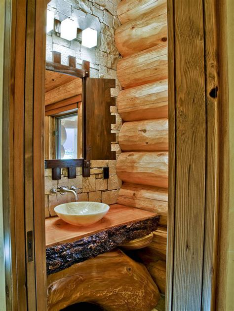 Cabin Bathroom Ideas Log Sink Houzz